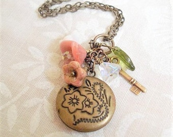 Spring Flower Locket Necklace Secret Locket Necklace Brass Key Necklace  Little Brass Locket Necklace Jewelry Round Tiny Key and Flowers