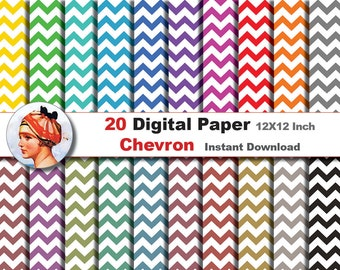 20 x Chevron paper  - Digital paper patterns - Scrapbooking Paper, Instant Download (No. 11)