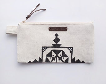 Embroidery Zipper Jewelry & Pencil Case, Purse, Cosmetic bag with handmade print