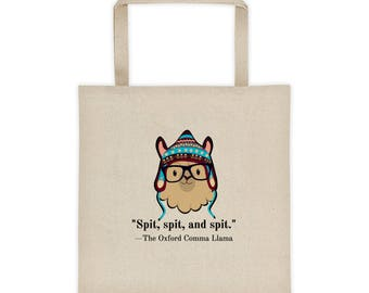 Oxford comma llama grammar geek Tote bag