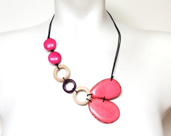 Tagua necklace, Mother's Day gift, Minimalist necklace, Pink necklace, Gift ideas for women for mom, Boho necklace, Eco friendly jewelry