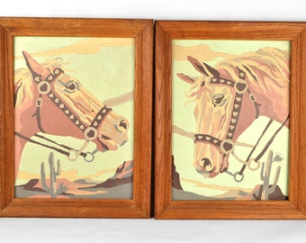 "Vintage Paint By Numbers PBN Horses Portraits ""Golden Palominos"""