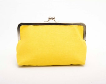 Big Sale - Yellow frame purse clutch ,bridesmaid clutches ,bridal clutch ,bridesmaid gift , WITH COLOR OPTION