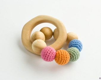 Rainbow #1 Teething Wood Ring - Organic Cotton - Wood Rattle Toy, New Baby Gift, Baby Shower Gift, Newborn - TR06