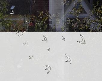 Window Film Bird, Decorative Window Privacy Film, Custom Window Film, Privacy Decal Flying Birds, Custom Window Art