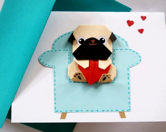 Pug Birthday card, Pop up Origami card, Anniversary card, Pop up card, Fawn Pug, Girlfriend card, Pug lovers, Funny pug card