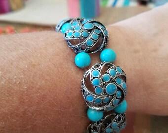 Turquoise double wide bracelet