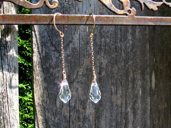 Swarovski Crystal Tear Drop Earrings Sterling Silver