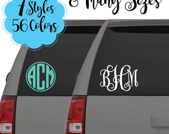 Monogram Car Decals, Vine Monogram Decals, Circle Monogram Decals, Large Monogram Decals, Custom Decals, Car Decal