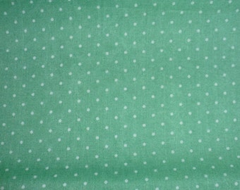 Two (2) Yards of Vintage Cotton Fabric with Little White Dots on Light Green Background