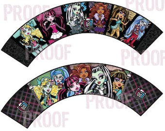 Monster High Printable Party Cupcake Wrappers