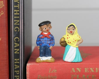 Vintage Pair Spanish Mud People Dolls Man Woman Couple Married Plaid Colorful Hat Cake Topper Spain Collectible Terra Cotta Hand Painted Old