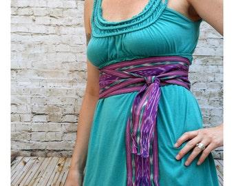 Purple Bohemian Belt, SA59 - Ikat Fabric - Woven Sash - Gypsy Clothing - Guatemalan Textiles - Purple Sash - Bohemian Belt