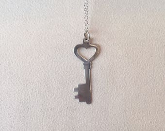 Sterling Silver Flat Key Pendant Necklace  **FREE SHIPPING