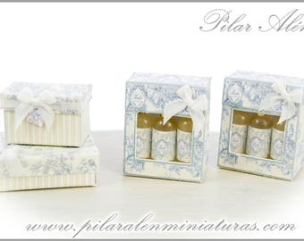 Box with perfums for dollhouse. Pastel yellow toile jouy. 12th scale. One inch.