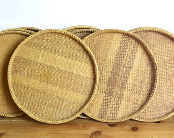 """Vintage wicker tray…15"""" woven tray...winnowing tray...wall basket...wall tray...wall art...rustic farmhouse...price for (1) one."""