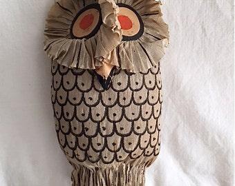 Vintage Dennison Crepe Paper Halloween Owl