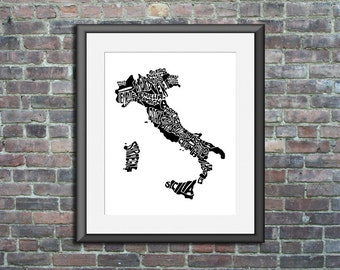 Italy typography map art unframed print custom personalized country poster wedding engagement graduation gift anniversary wall art decor