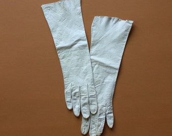 Vintage Leather Gloves in Cream - Size 6.5