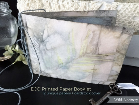 ECO Dyed Paper Booklet No. 0004 - ECO Printed Cardstock Covers + 12 Torn Edge Plant Dyed Papers