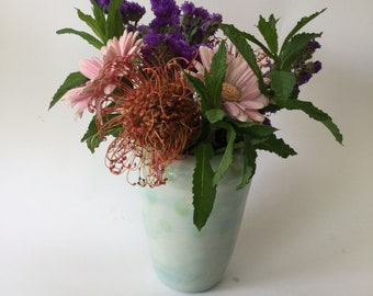 Lovely vase with a classic Swedish shape finished with cerulean glaze and soft spring green dots.