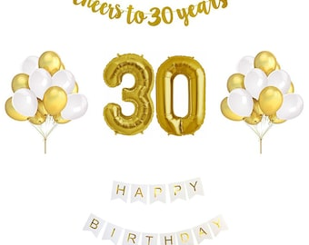 30th Birthday Balloon Decoration Set Gold and White | 30th Birthday Decorations | Gold Birthday Party Theme