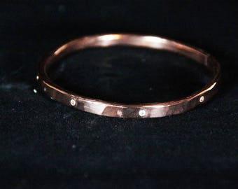 Hammered Copper Topaz Bracelet, Big Bold Bracelet,  Hammered Copper Bracelet, Topaz Bracelet, Handmade Jewelry