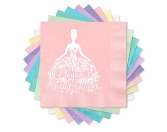 Bridal Shower Napkins, Blush Pink Beverage Napkins, Appetizer Napkins, Hors d'oeuvre Napkins, Personalized 3-Ply Paper Napkins