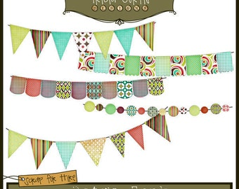 Banner Day - Retro Funk Paper Piecing Clipart Elements for Invitations, Card Design, Digital Scrapbooking - Instant Download