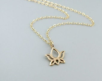 Gold Lotus Necklace - Bronze Dainty Lotus Flower Jewelry, Yoga Necklace, 14k gold filled
