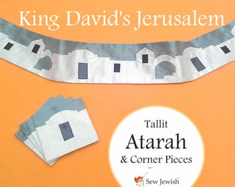 Atarah for Tallit / Tallis with Corner Pieces - for Prayer Shawl - King David's Jerusalem - Silk Dupioni