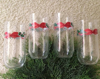Vintage Christmas Glasses, 16 oz, Holly and Berries with Red Bow, Set of 4, 4 sets + Available.  1980's