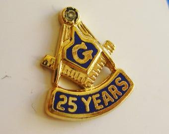 Vintage 50s Masonic Shrine Sterling Silver Enamel Square & Compass Lodge 25 Year Member Lapel Pin