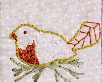 hand and machine embroidered wall hanging, wall hanging with birds