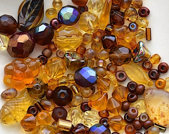 Amber / Brown Czech Glass Bead Mix - Assorted Shapes, Sizes And Color Shades - 25 Grams