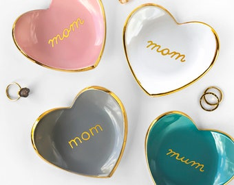 Mom Heart Jewelry Dish, Heart Ceramic Ring Dish - Mother's Day Gift , Valentine's Day, Ring Holder, Anniversary, Engagement Gift, Modern Mud