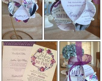 Keepsake Inviation Ornament- Made of Wedding Invitation Engagement Save the Date Bridal Shower Gift Wedding Gift Photo Card