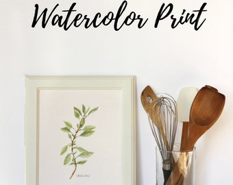Watercolor Herb Painting, Botanical Illustration, Kitchen Art, Herb Illustration, Housewarming Gift, Gift for Mom, Watercolor Print,