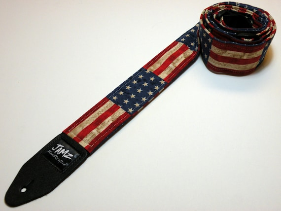 stars stripes handmade double padded guitar strap america. Black Bedroom Furniture Sets. Home Design Ideas