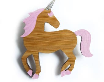 Unicorn Brooch, Unicorn Pin, Wooden Brooch,  Unicorn Jewellery, Gift for Her, Gift for Unicorn Lovers, Mothers Day Gift, Laser Cut Jewellery