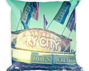 Whimsical Carnival Hotdog Stand Square Throw Pillow
