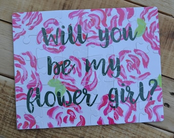Puzzle - Will You Be My Flower Girl? Flower Girl Proposal Watercolor