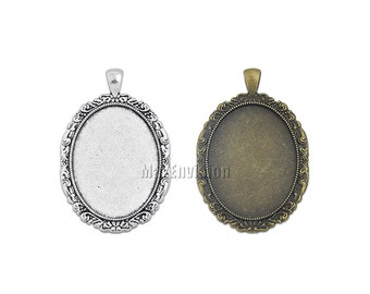 30x40mm Oval Pendant Tray Pendant Blank Bases Cameo Cabochon Base Setting fit 30x40mm Oval Cabochons 20 M158