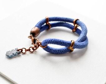 Maritime Rope Bracelet, Cord Bracelet, Fabric Bracelet, Blue Bracelet, Nautical Bracelet, Hippie Jewelry, Boho Jewelry, Layering Bracelet