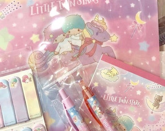 2018 New Sanrio LITTLE TWIN STARS unicorn colorful night and pets: file folder, memo pad, pen, and mechanical pencil