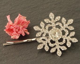 Snowflake Wedding Hair Clip | Diamante Snowflake Hair Clip | Wedding Hair Accessories | Christmas Hair Clip | Sparkly Bridal Hair Grip