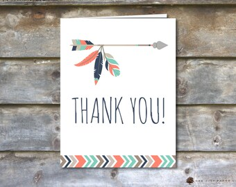Baby Shower Thank You Card, Tribal Baby Shower Thank You Card, Tribal Shower Thank You Card, Shower Thank You Card, Boho, Aztec - Printable