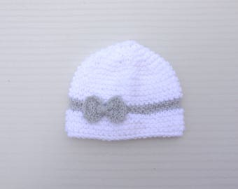 White bow baby Hat gray