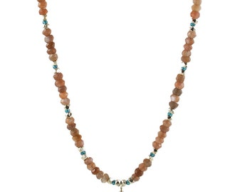 Sterling Silver, Kyanite and Chocolate Moonstone Beaded Necklace