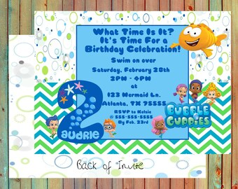 Bubble Guppies Inspired Personalized Birthday Invitations (Printed)